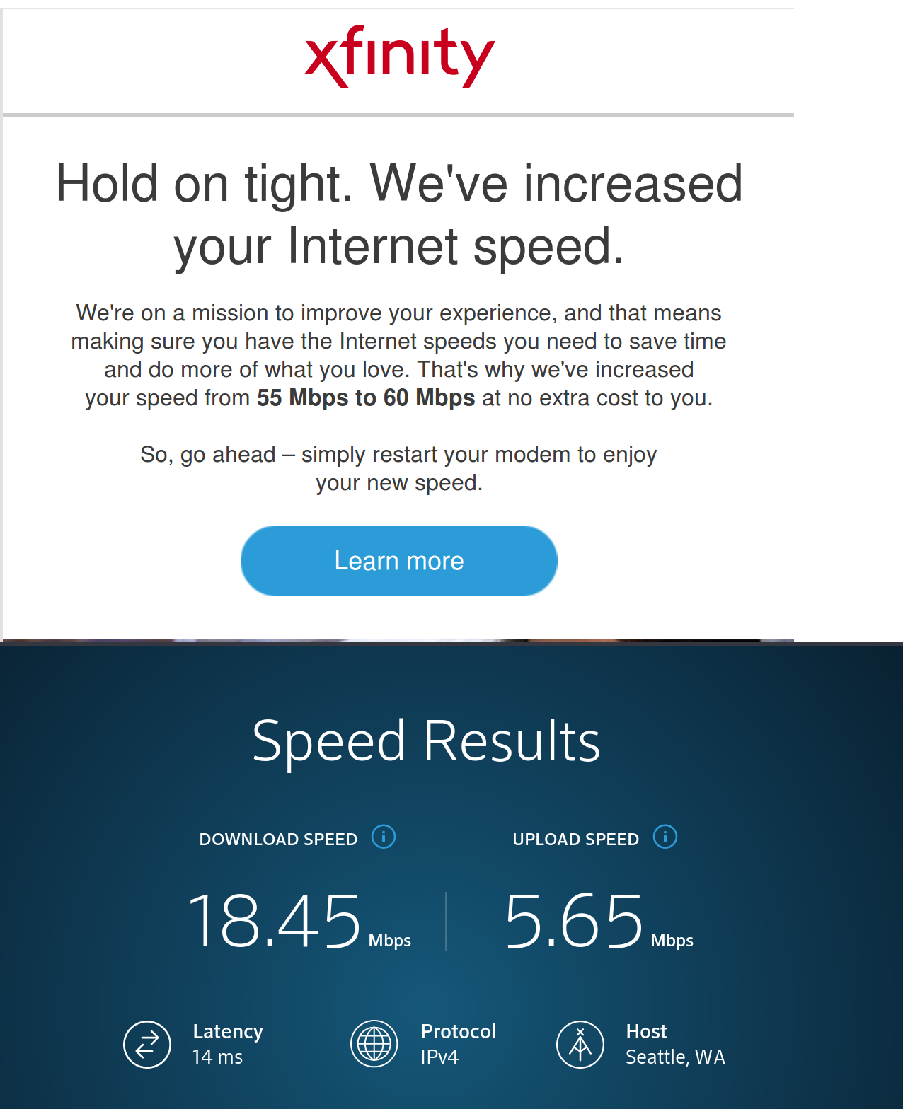 Speed] Comcast raised my speed - Comcast XFINITY